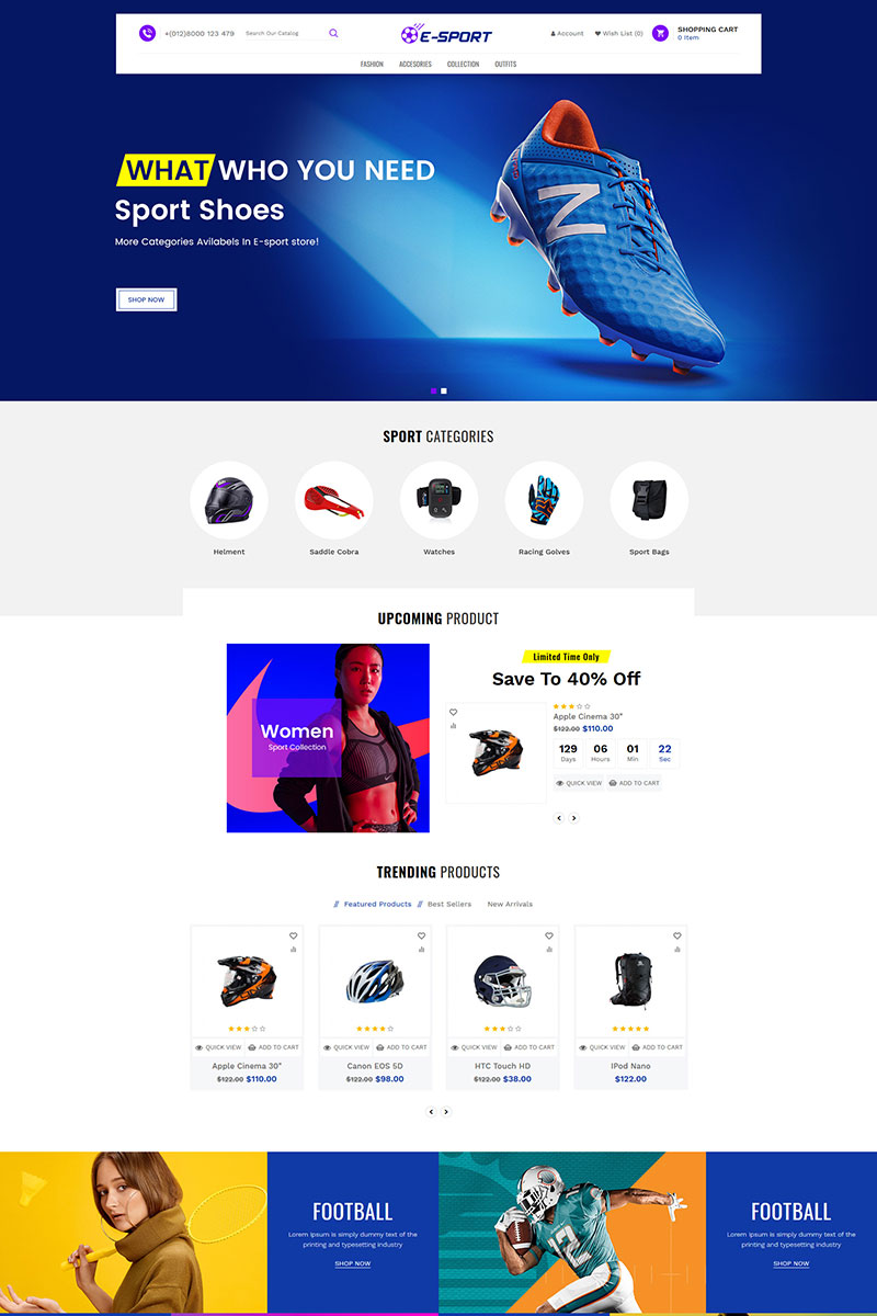 "Responzivní Shopify motiv ""Esport Responsive"" #85168"