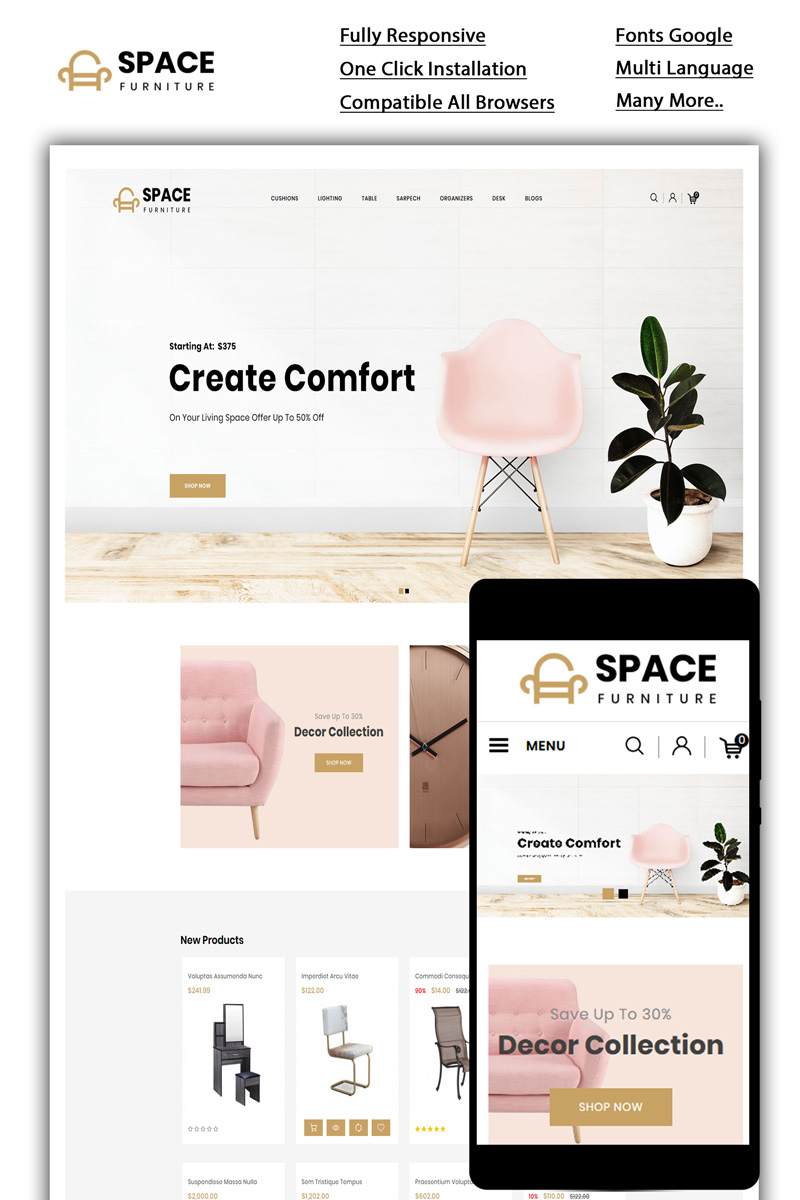 """Space - The Furniture Shop"" Responsive OpenCart Template №85108 - screenshot"