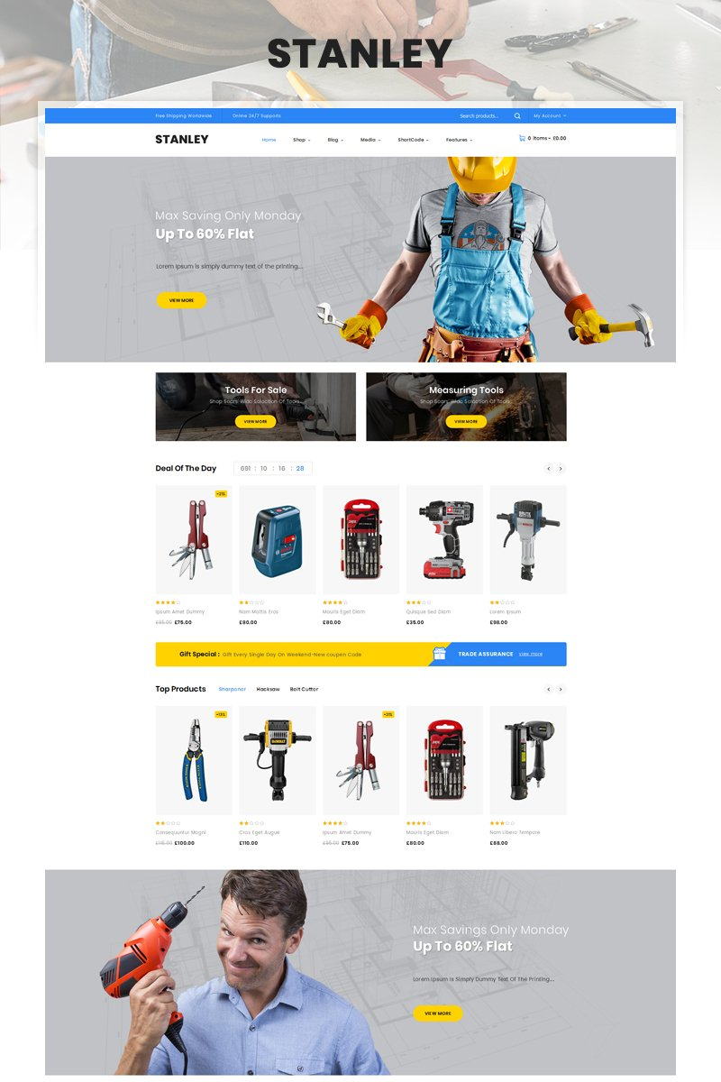 Stanley - Tools Hardware Store Tema WooCommerce №85128