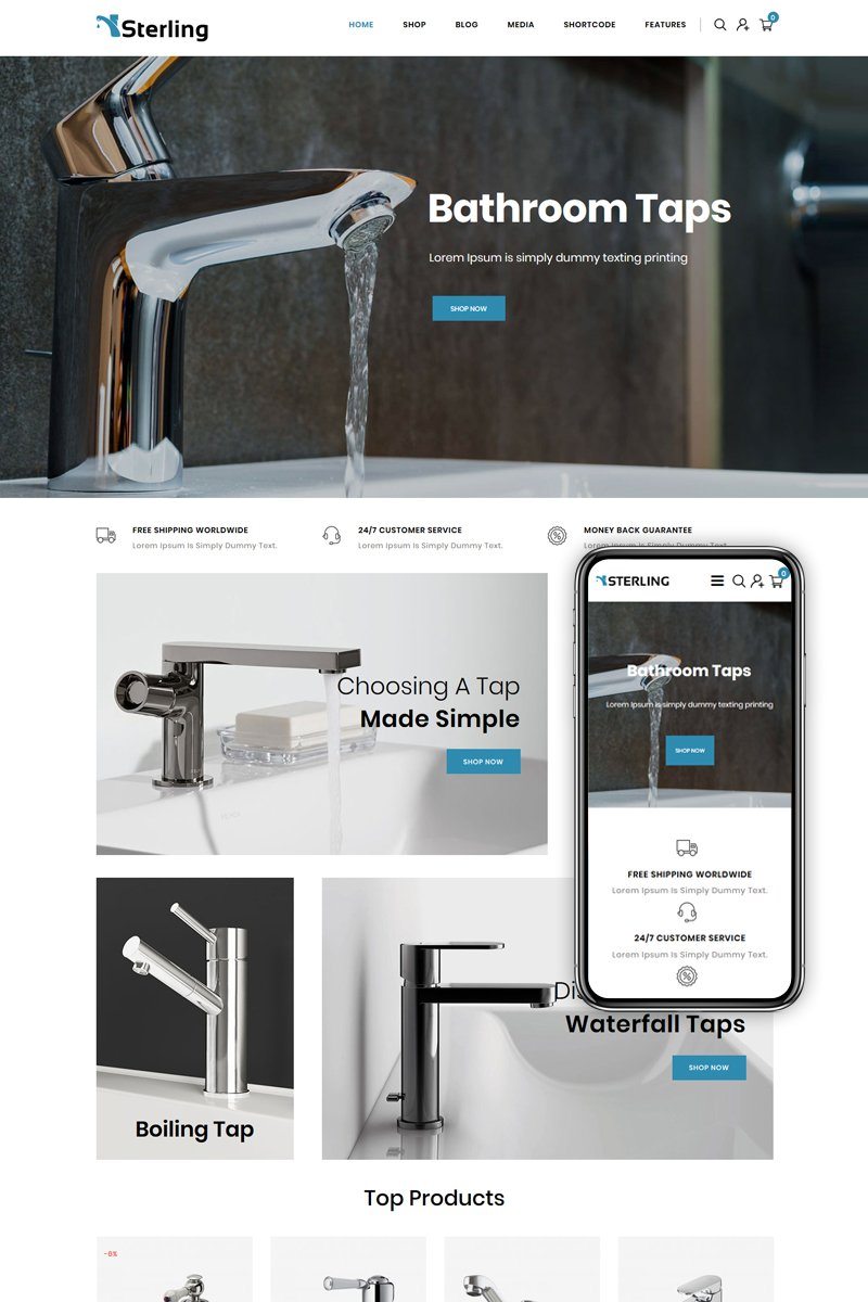 """""""Sterling - Bathroom Accessories Store"""" Responsive WooCommerce Thema №85157"""