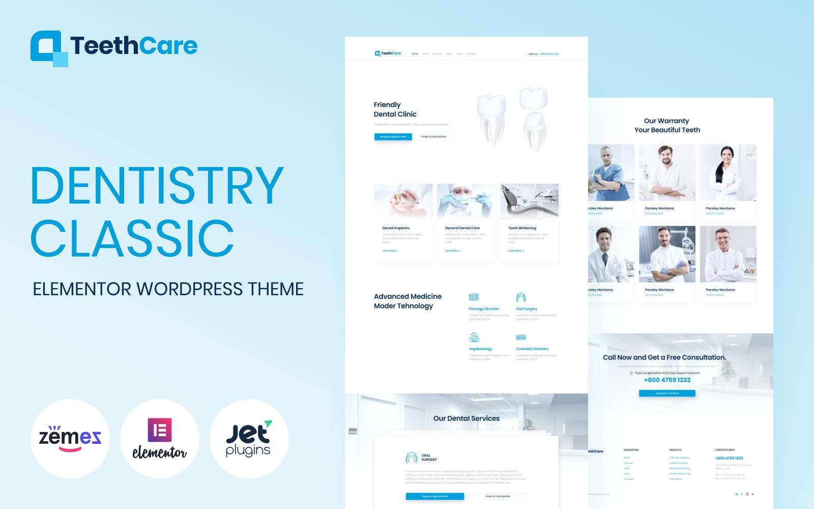 """TeethCare - Dentistry Classic Elementor"" - адаптивний WordPress шаблон №85140"