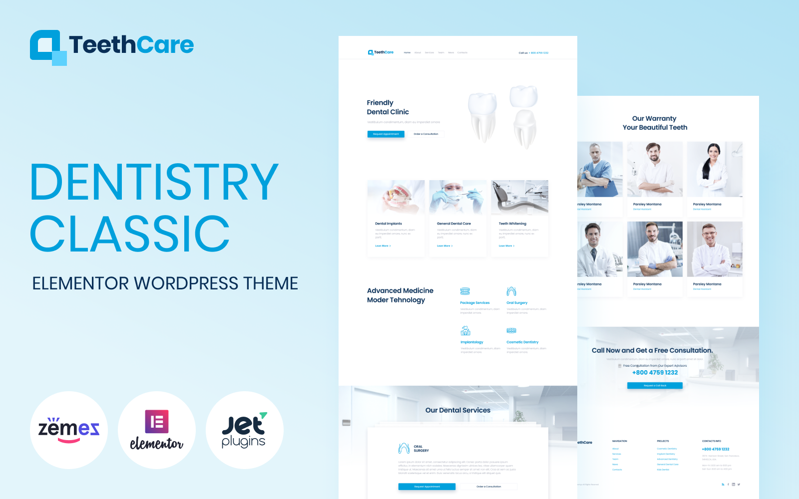 """TeethCare - Dentistry Classic Elementor"" Responsive WordPress thema №85140"