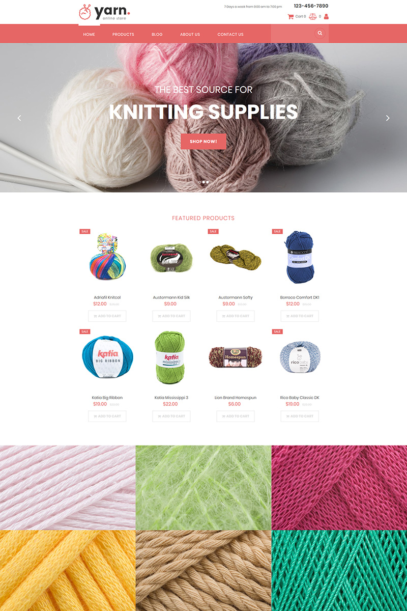 "Tema MotoCMS E-commerce Responsive #85179 ""Yarn - Knitting"""