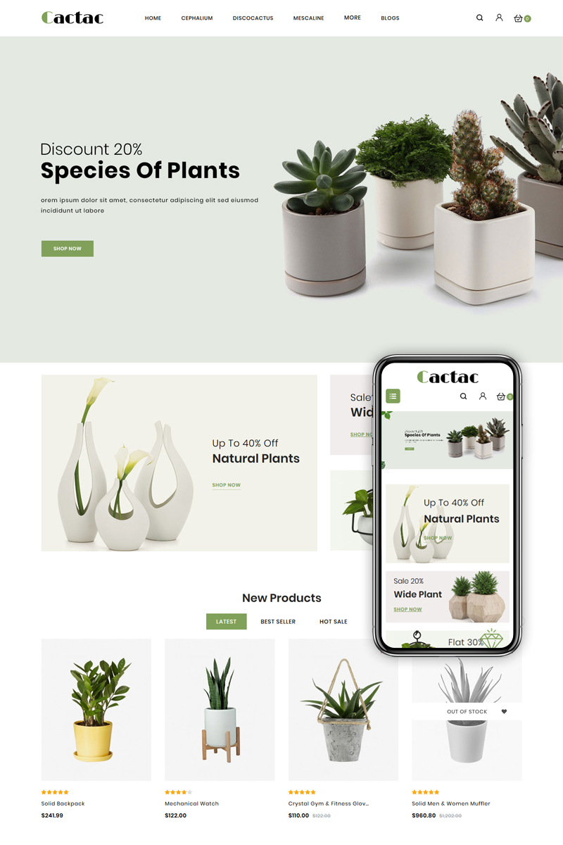 """Template OpenCart Responsive #85111 """"Cactac - Plant Shop"""""""