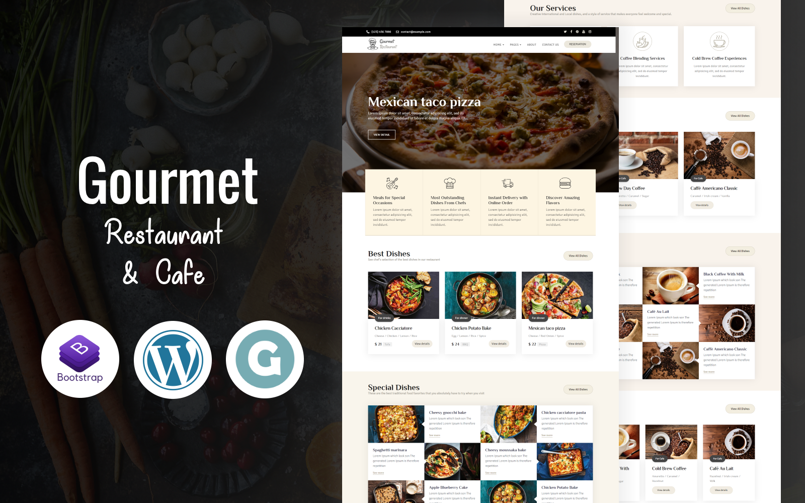 "Template WordPress Responsive #85189 ""Gourmet - Restaurant & Cafe"""