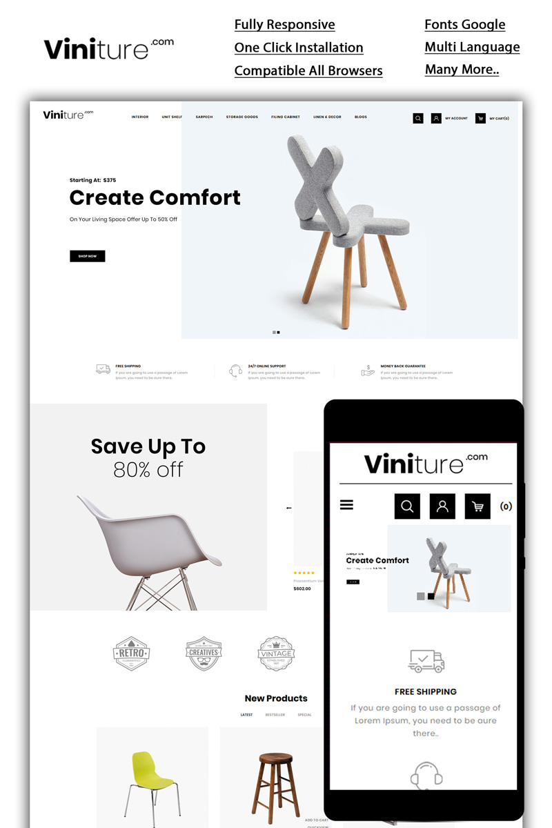 Viniture - The Furniture Shop OpenCart Template