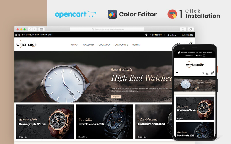 Watch Store OpenCart Template