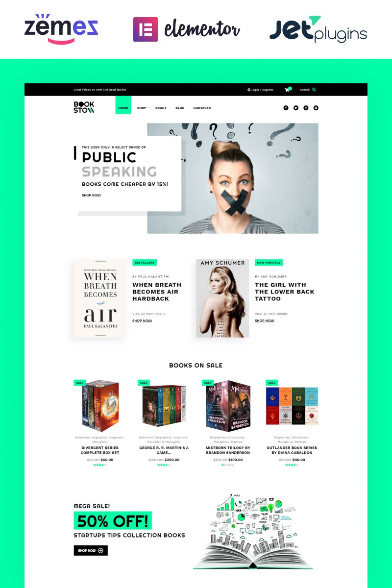 "WooCommerce Theme namens ""BookSto - Bookstore ECommerce Modern Elementor"" #85139"
