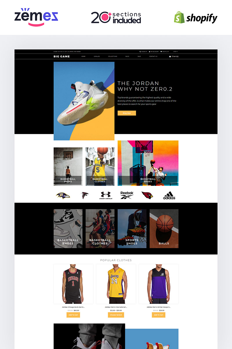 Thème Shopify adaptatif #85227 pour site de basketball