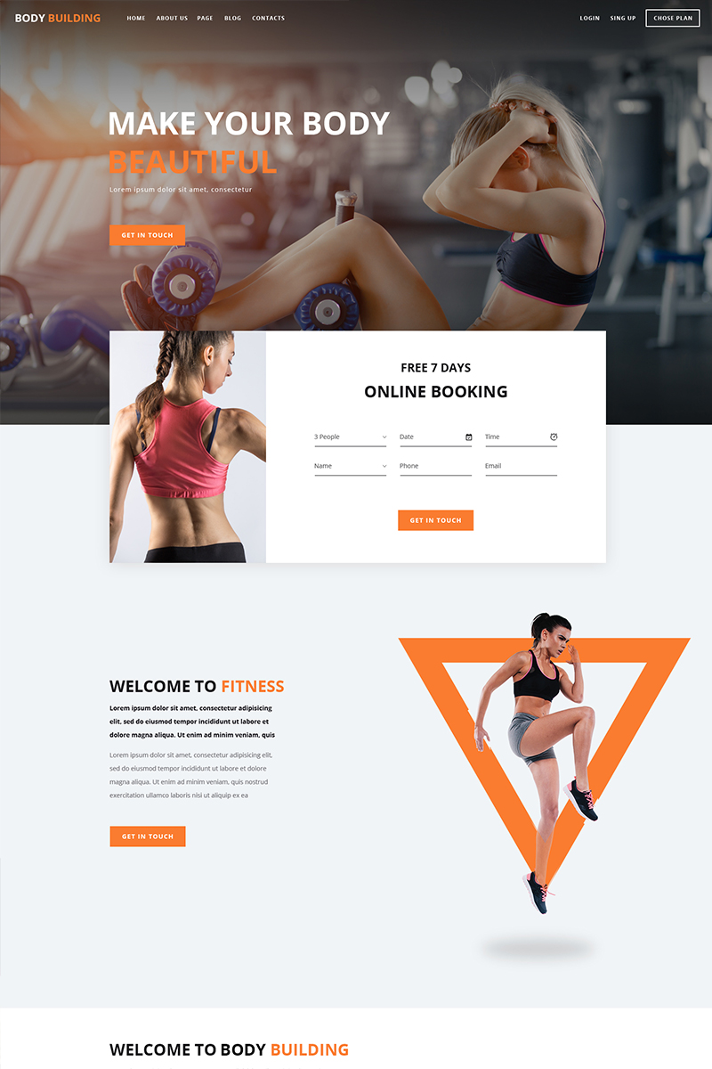 """""""Body Building"""" BootstrapPSD模板 #85238 - 截图"""