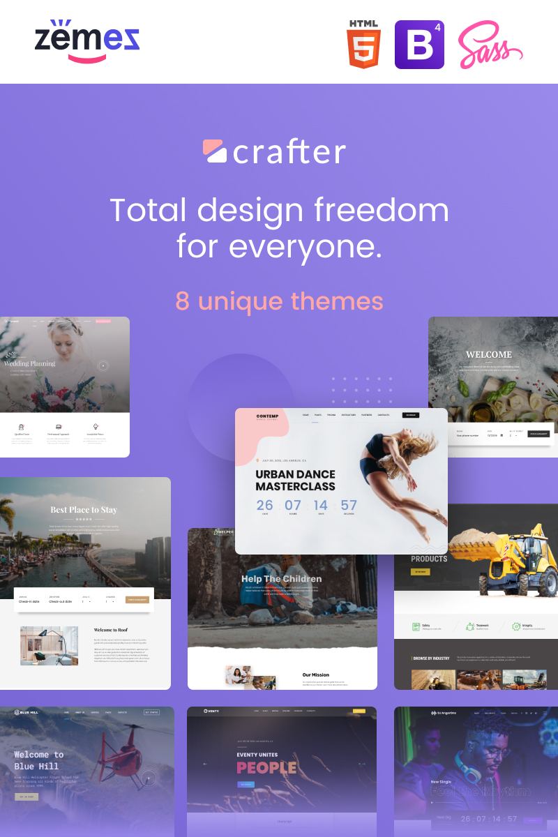 """Crafter - Multipurpose Modern Bootstrap 4"" Responsive Website template №85228"