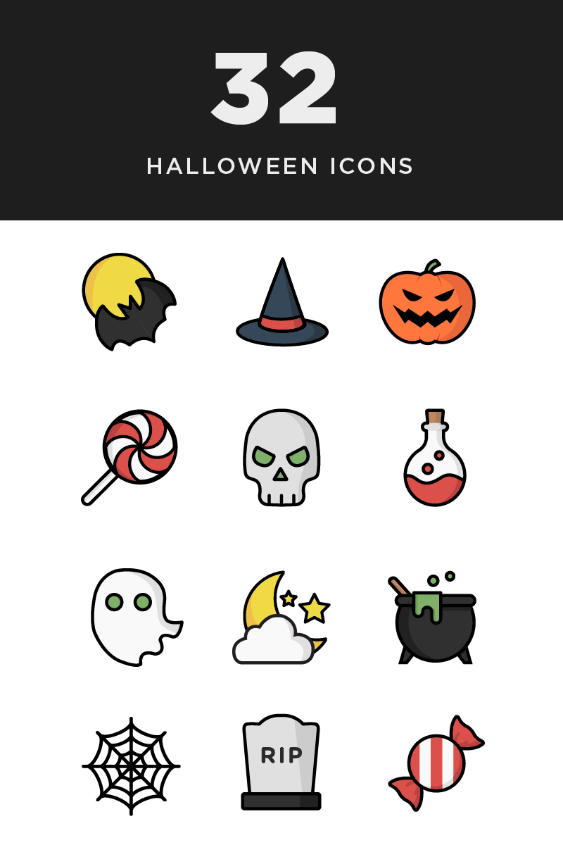 """Illustrative Halloween"" Iconset template №85220"