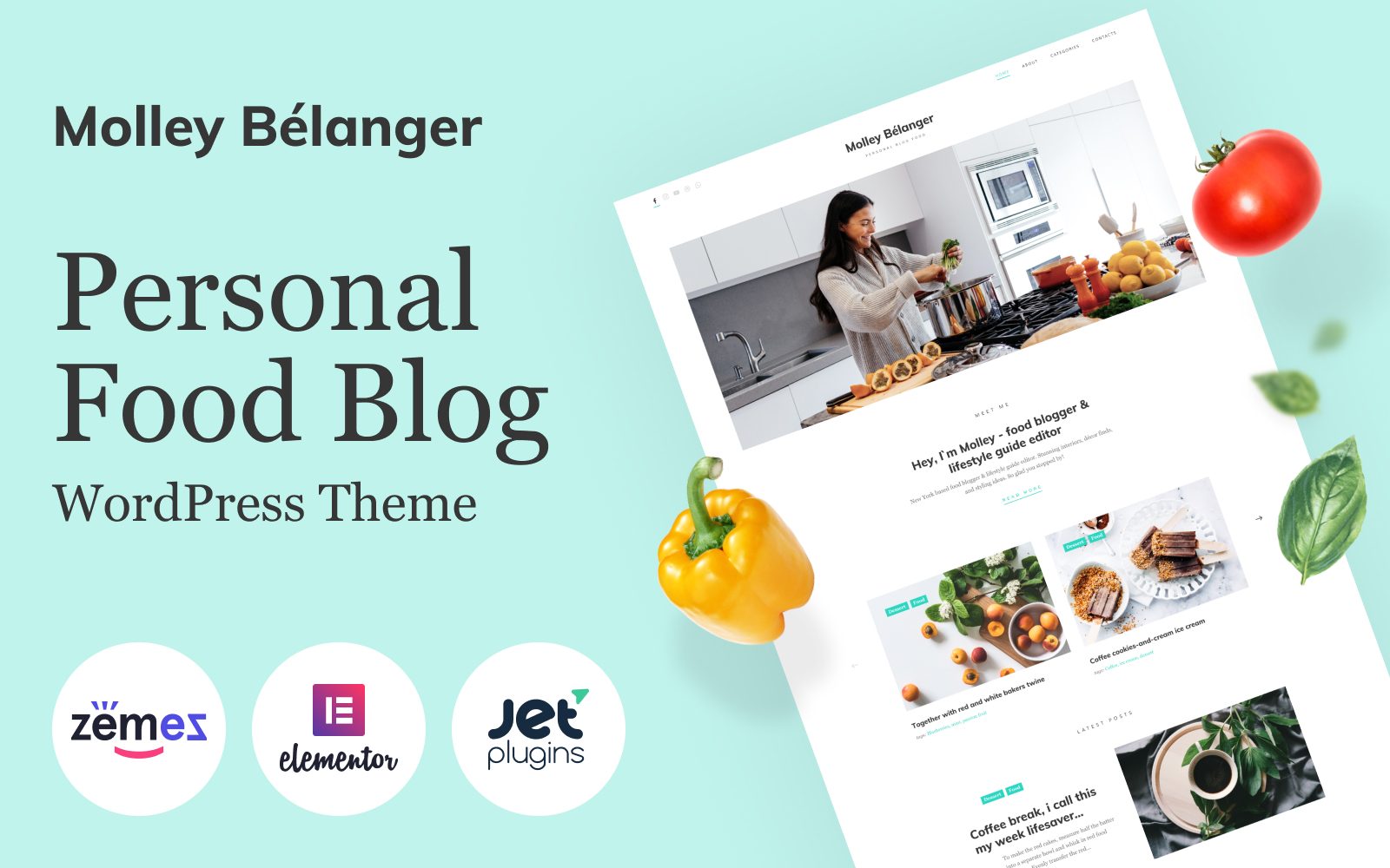 Molley Belanger - Food blog WordPress theme for storytelling WordPress Theme