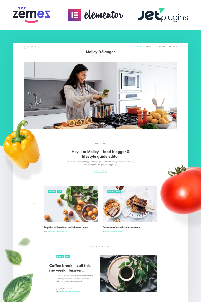 Molley Belanger - Food blog WordPress theme for storytelling WordPress Theme