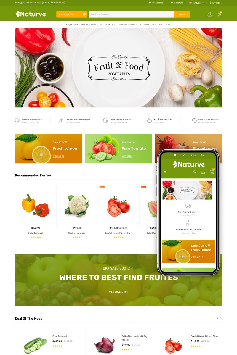 Naturve - Vegetable Store OpenCart Template