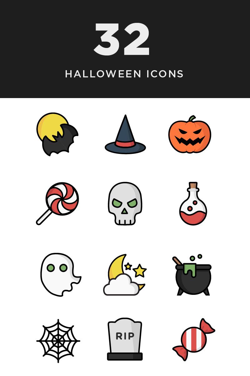 """Plantilla De Conjunto De Iconos """"Illustrative Halloween"""" #85220"""
