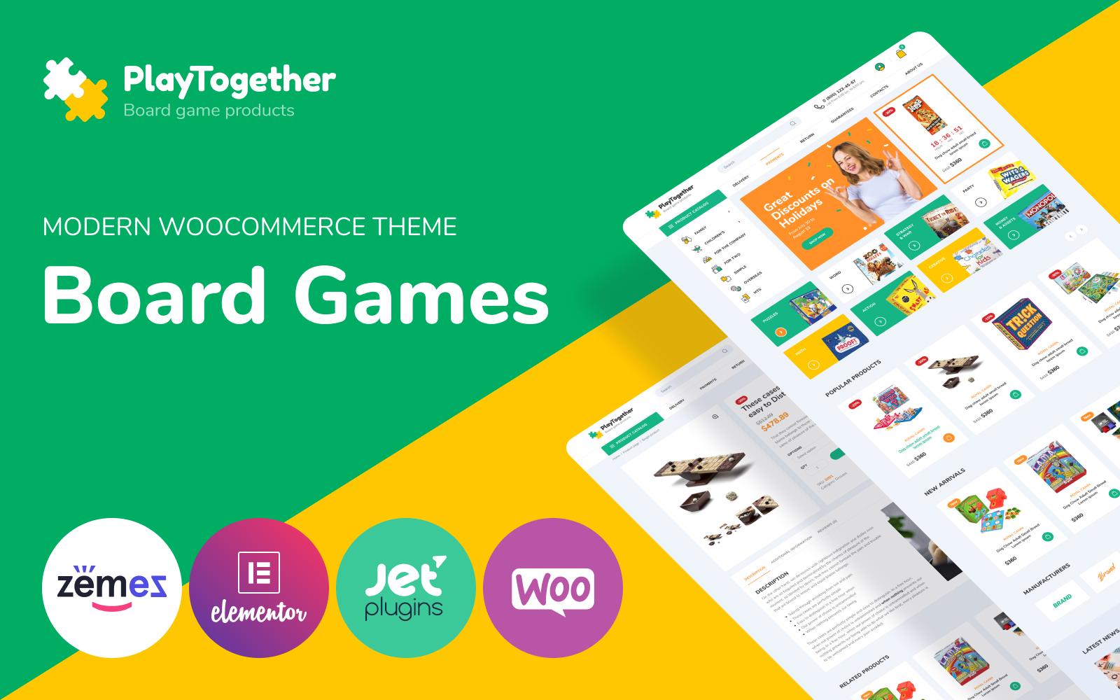 """""""PlayTogether - Board games hop Elementor"""" thème WooCommerce adaptatif #85270"""