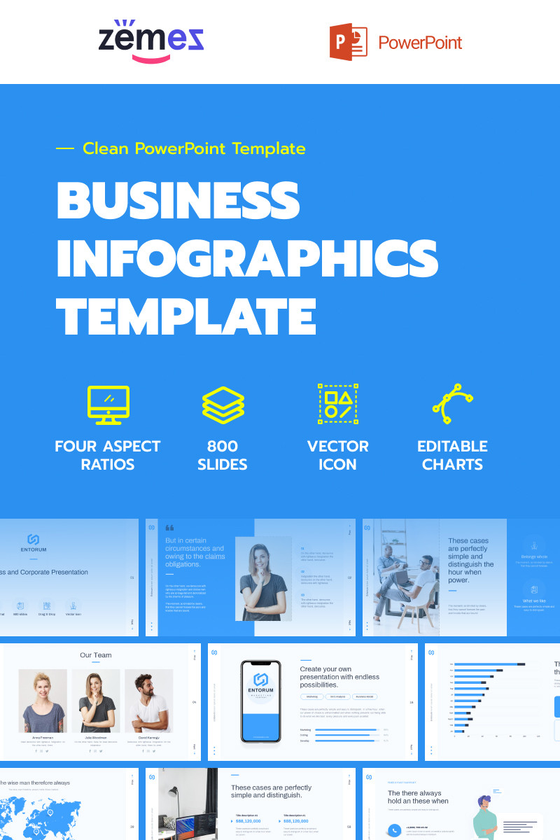 "PowerPoint šablona ""Entorum - Business with flexible infographics"" #85229"