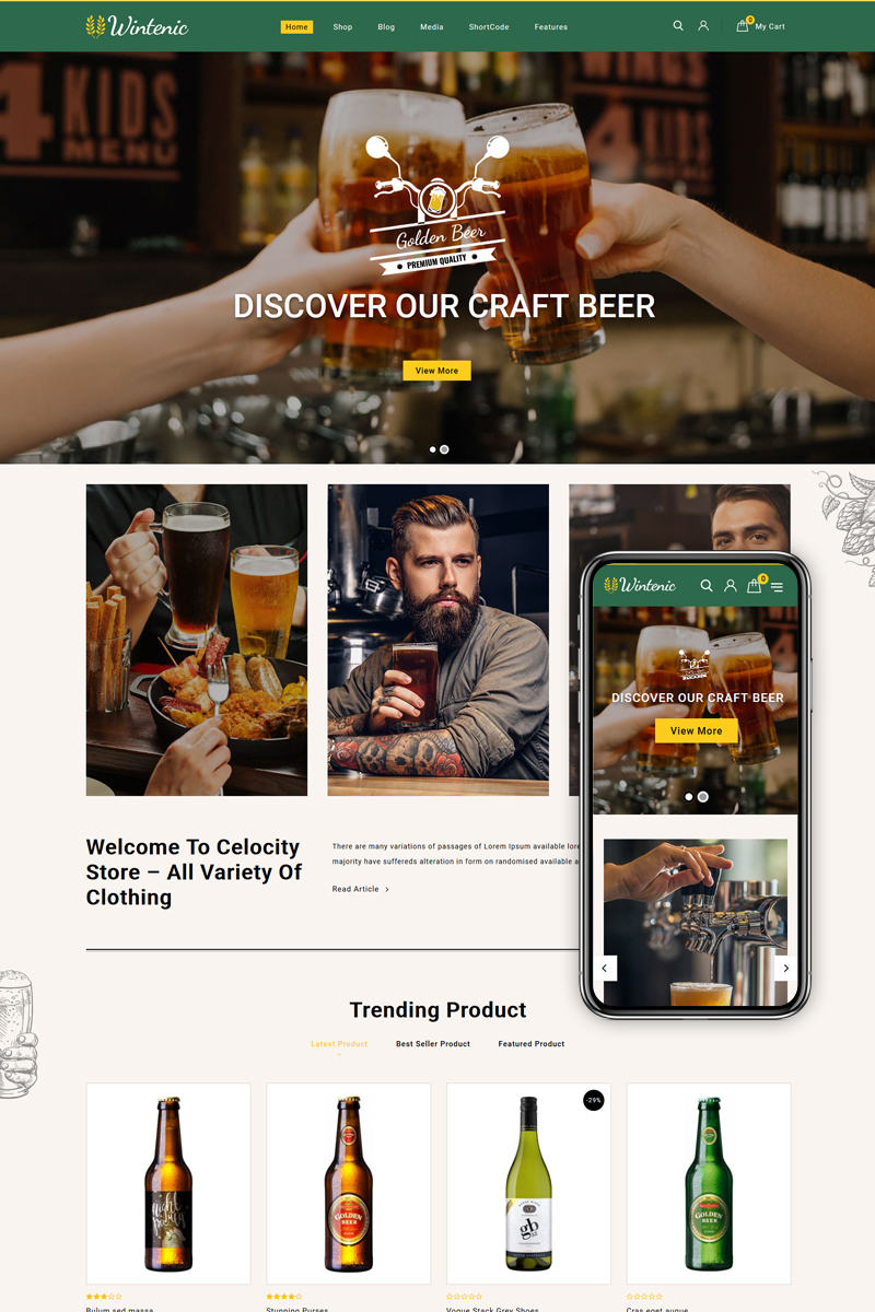 Responsivt Wintenic - Drink Store WooCommerce-tema #85285