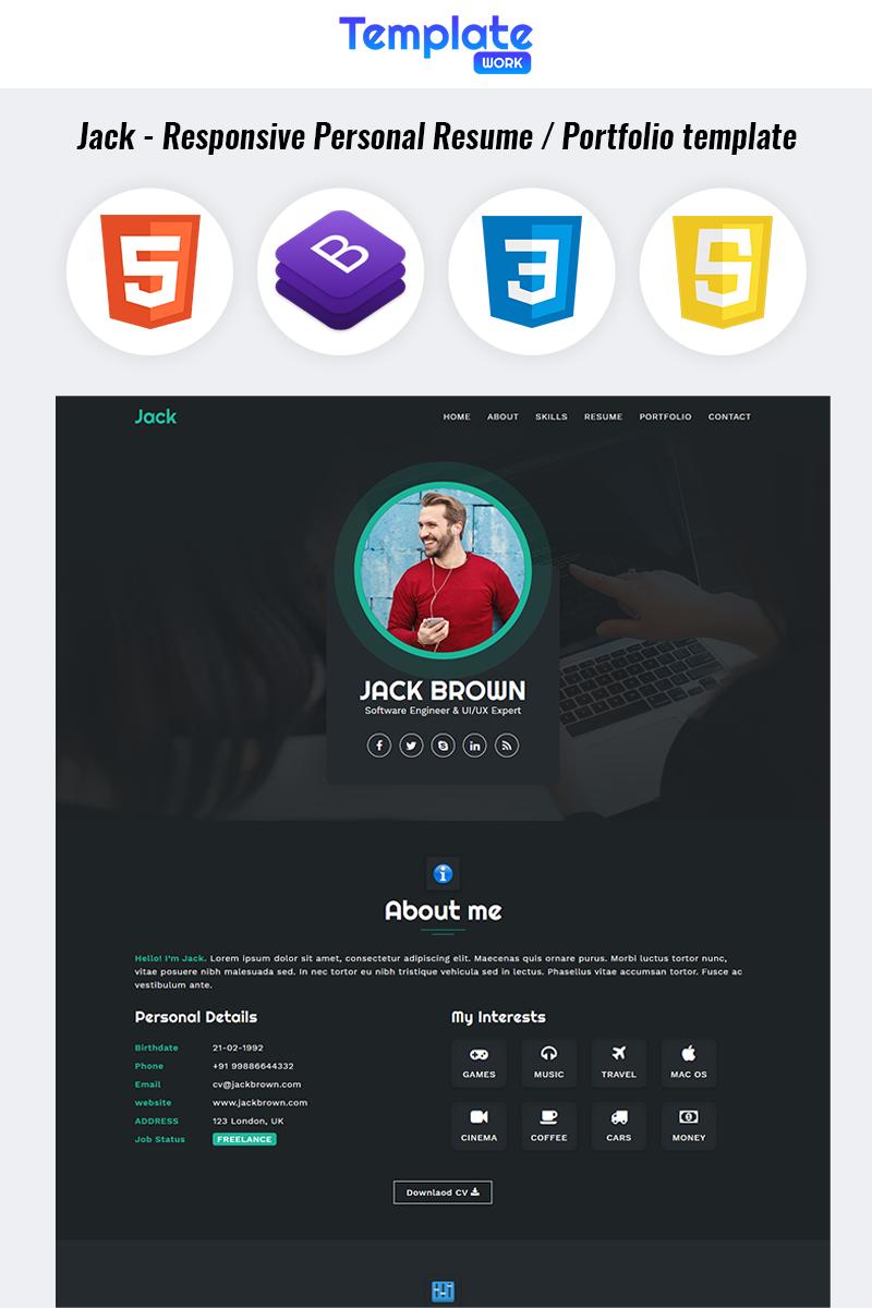 Responsywny szablon Landing Page Jack - Personal Resume Portfolio #85201