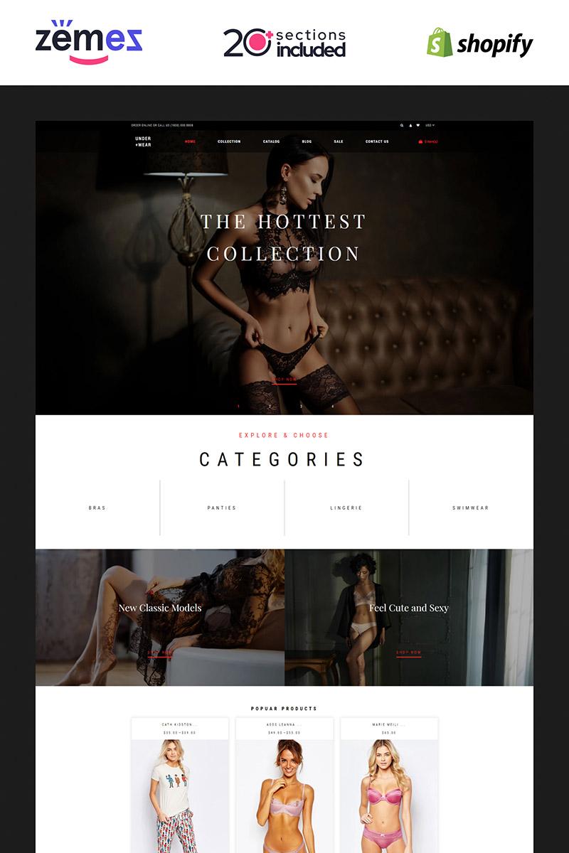 Reszponzív Under+Wear - Lingerie Store Shopify sablon 85219