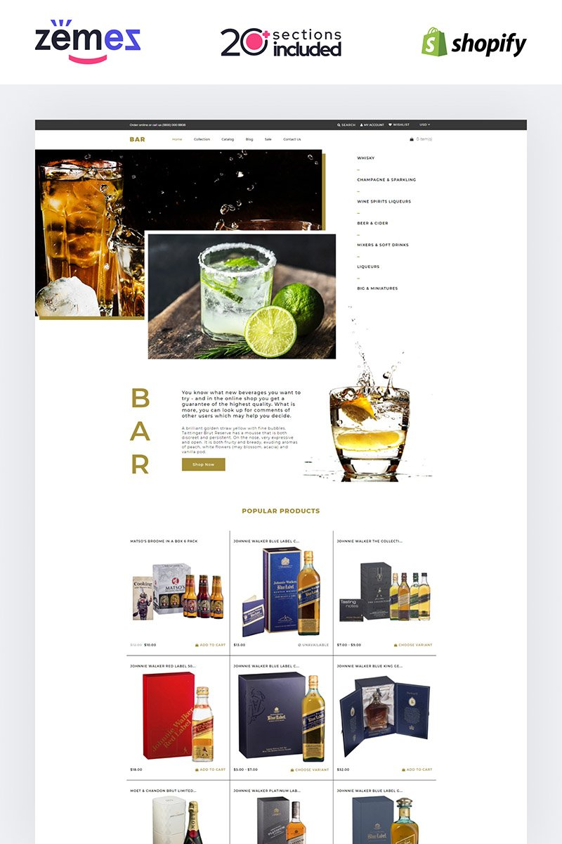 """Shopify Theme namens """"Bar - Drinks & Beverages Shopify"""" #85248"""