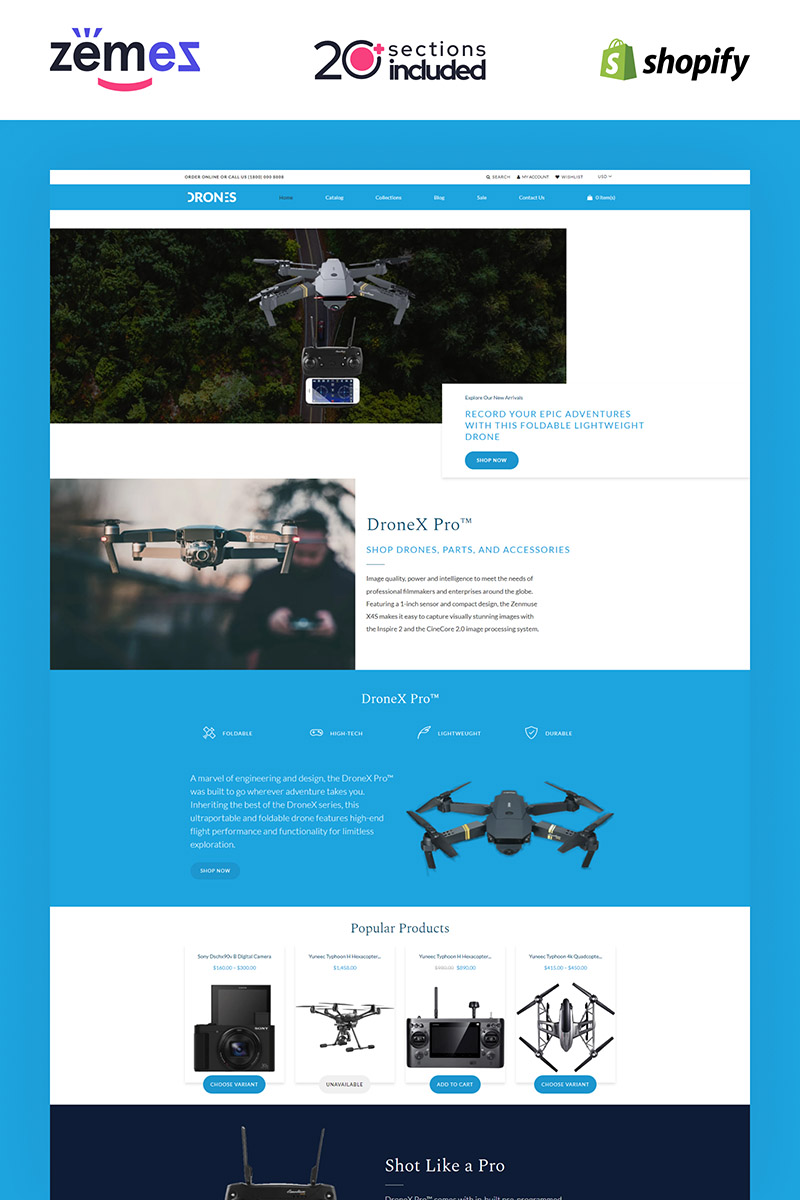 "Shopify Theme namens ""Drones - Gadgets Store"" #85247"
