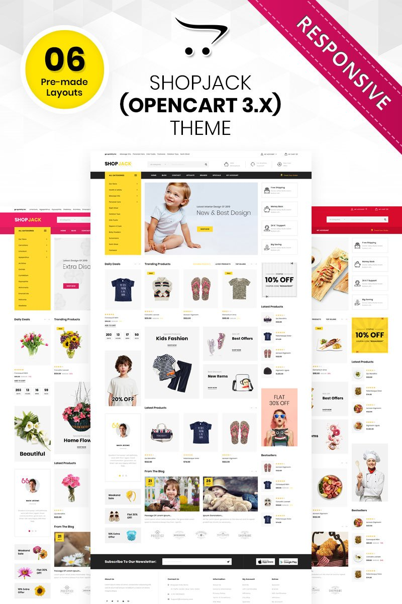 """Shopjack - The Mega Multishop Responsive"" thème OpenCart adaptatif #85250"