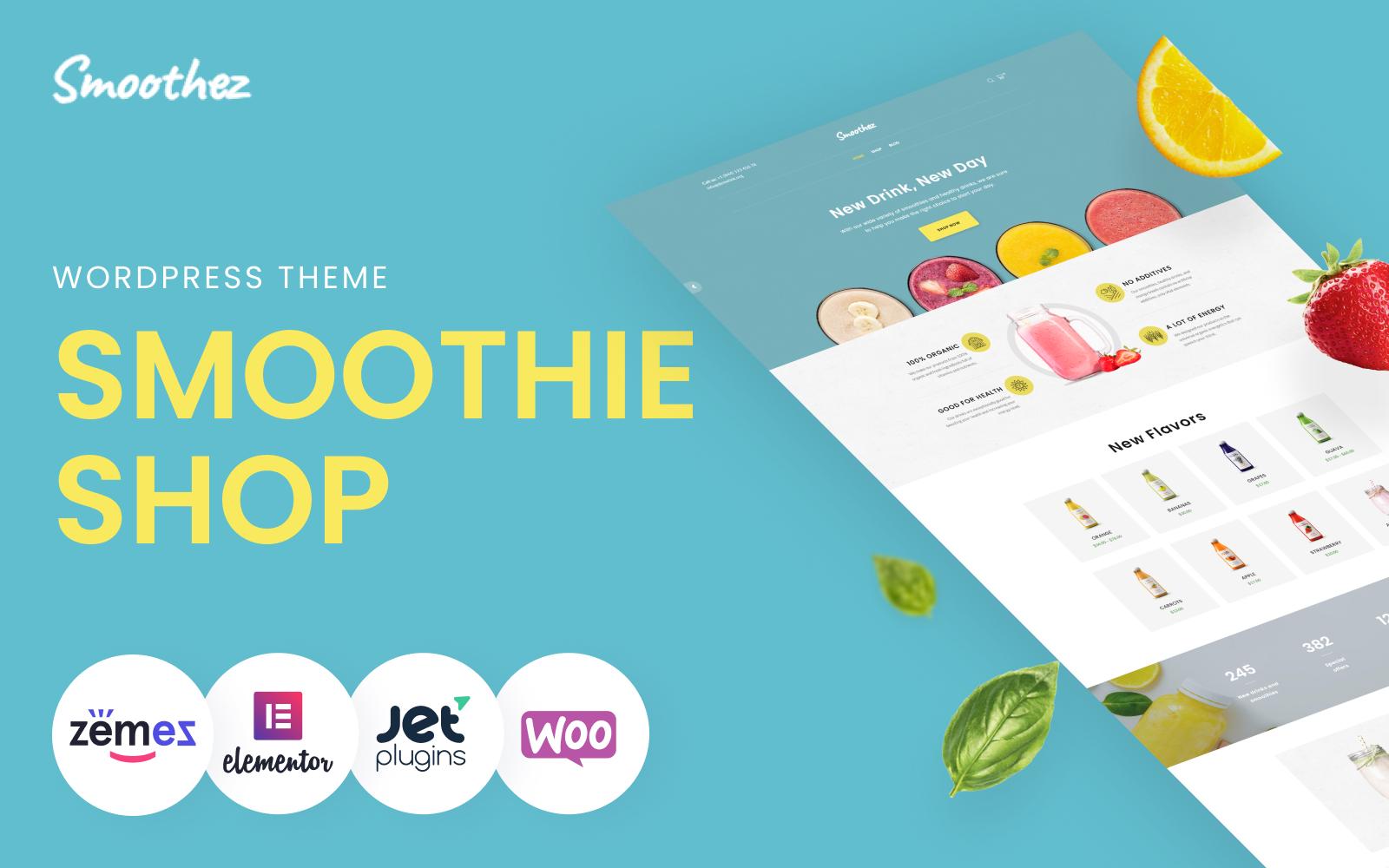 """Smoothez - Organic Smoothie Store ECommerce Modern Elementor"" 响应式WooCommerce模板 #85237"