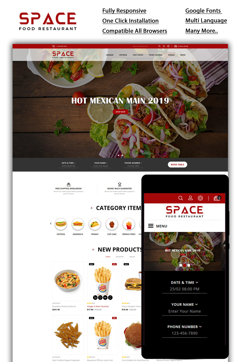 """Space - Food Restaurant"" Responsive OpenCart Template №85236"