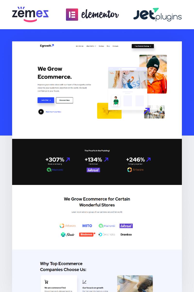 "Tema De WordPress ""Egrowit - Digital Marketing Consultant Elementor"" #85267 - captura de pantalla"