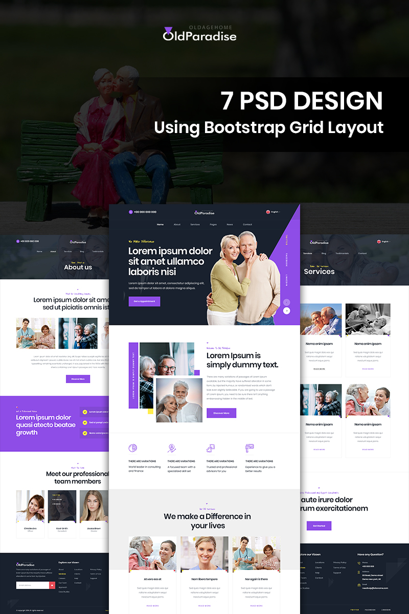 "Template PSD Bootstrap #85288 ""Old Paradise - Oldage Home"""