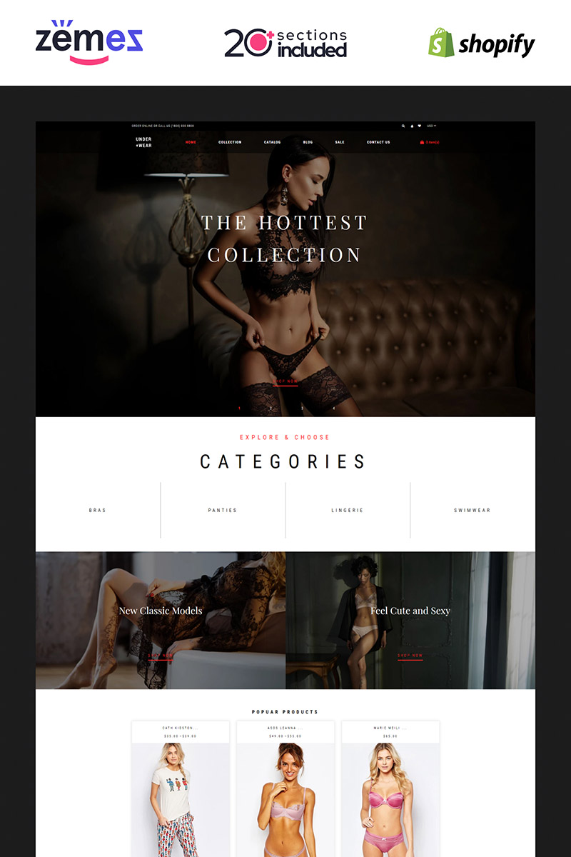 "Template Shopify Responsive #85219 ""Under+Wear - Lingerie Store"""