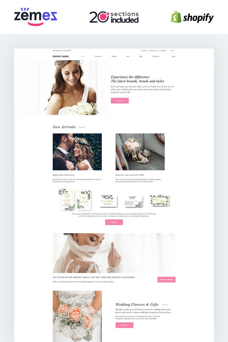 "Template Shopify Responsive #85225 ""Perfect Bride - Wedding Salon"""