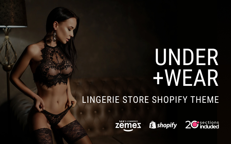 """Under+Wear - Lingerie Store"" Responsive Shopify Thema №85219"