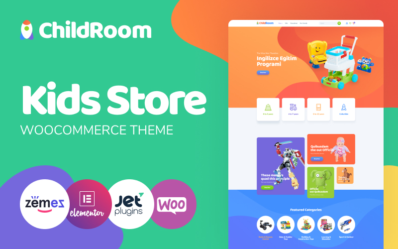 "WooCommerce Theme namens ""ChildRoom - Toys store elementor"" #85268"