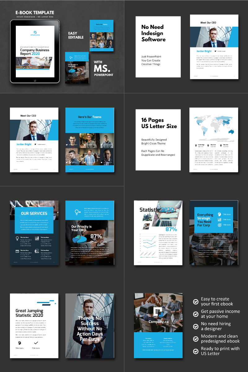 Business Report 2020 eBook Presentation PowerPoint Template