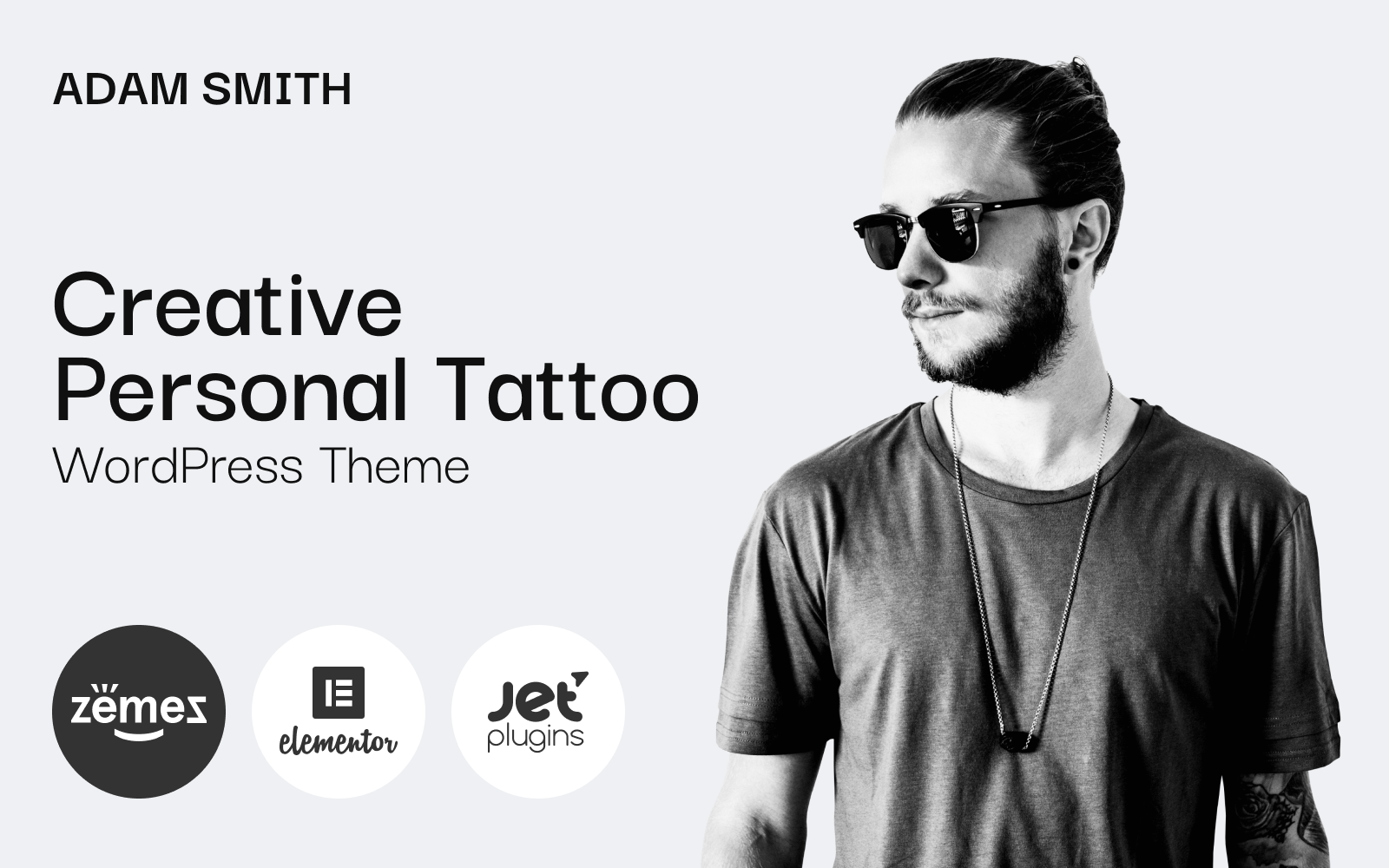 """Adam Smith - Creative Personal Tattoo Pro"" Responsive WordPress thema №85356"