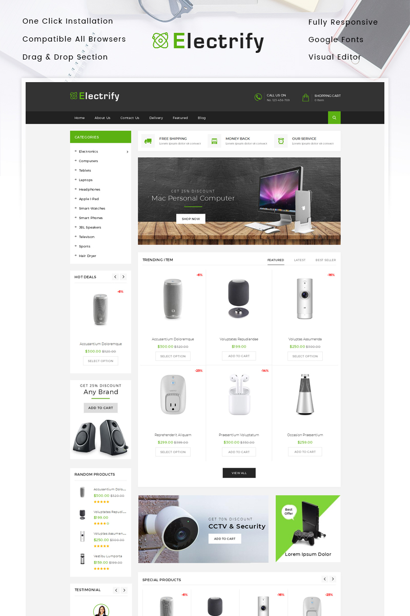 """Electrify - Digital Store"" - адаптивний Shopify шаблон №85332"