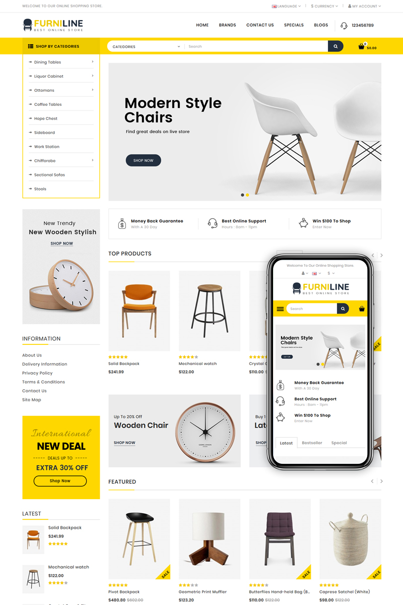 """Furniline - Home Decor Shop"" Responsive OpenCart Template №85321"