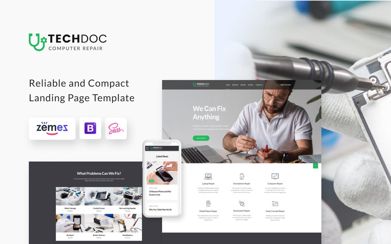 "Landing Page Template namens ""TechDoc - Computer Repair Modern HTML"" #85384"