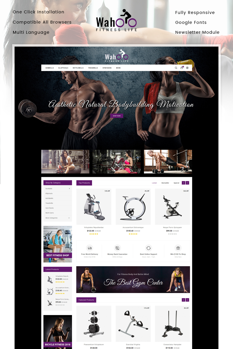 "OpenCart Vorlage namens ""Fitness Life - Gym Equipment Store"" #85322"