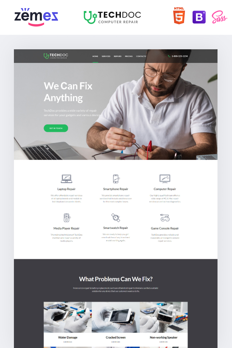Responsive TechDoc - Computer Repair Modern HTML Açılış Sayfası #85384