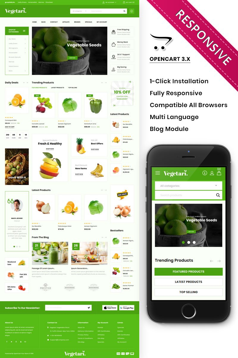 Responsive Vegetari - The Big Grocery Store Opencart #85331