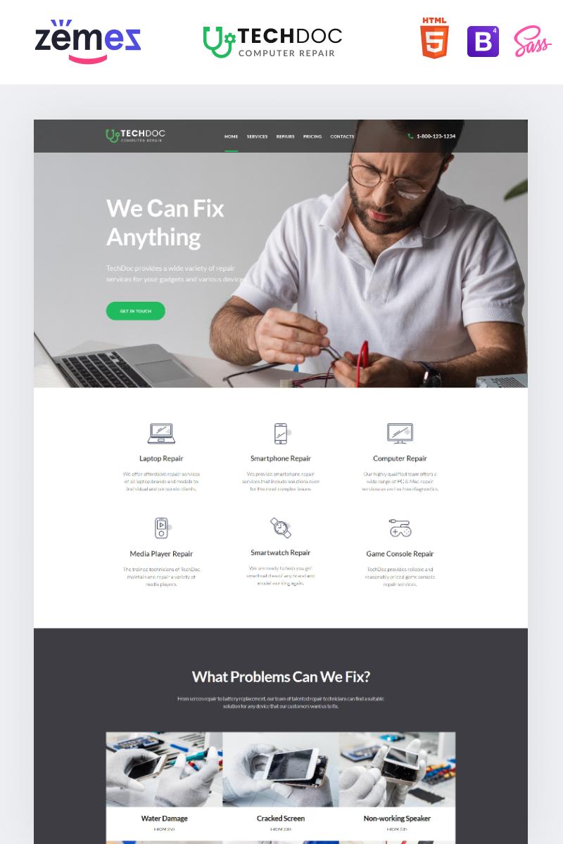 Reszponzív TechDoc - Computer Repair Modern HTML Nyítóoldal sablon 85384