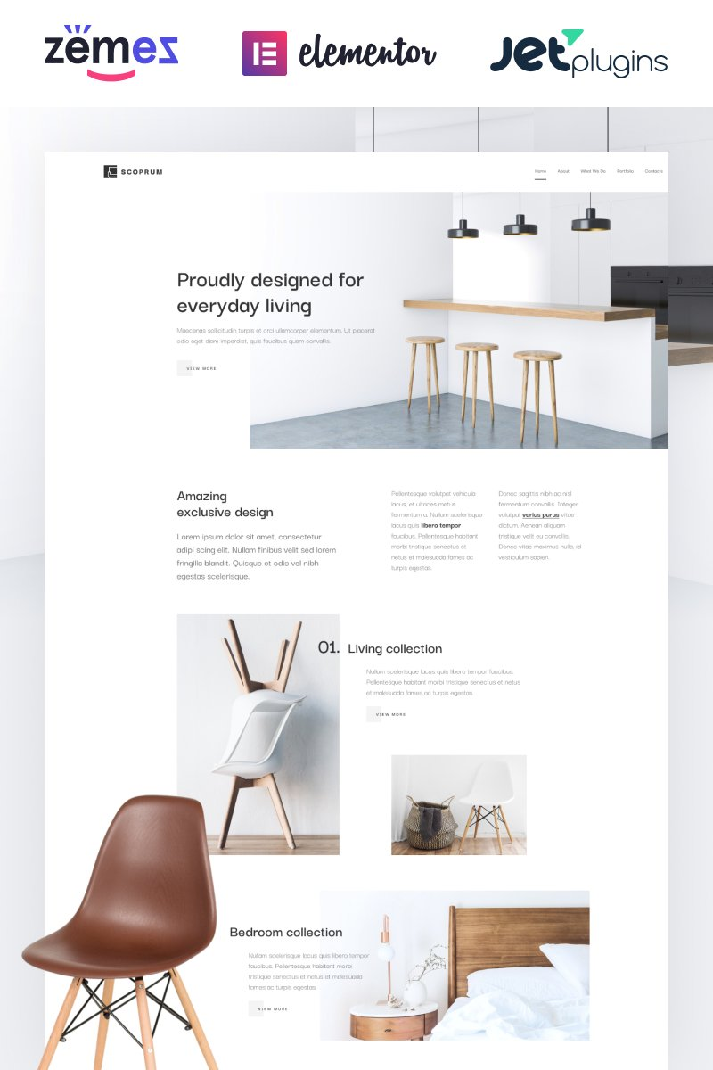 Scoprum - Furniture design for classy studios WordPress Theme - screenshot