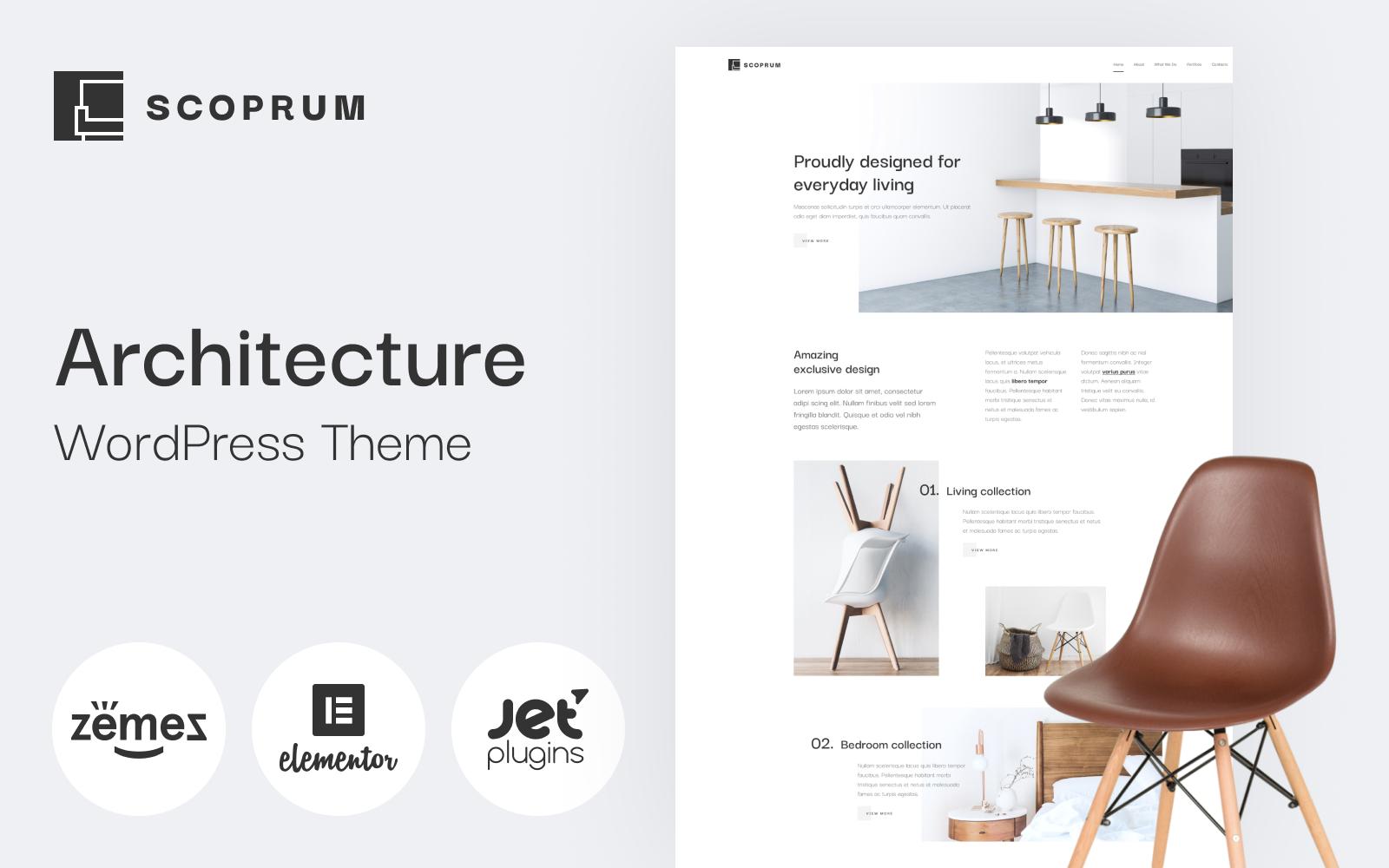"""Scoprum - Furniture design WordPress theme for classy studios"" thème WordPress adaptatif #85316"