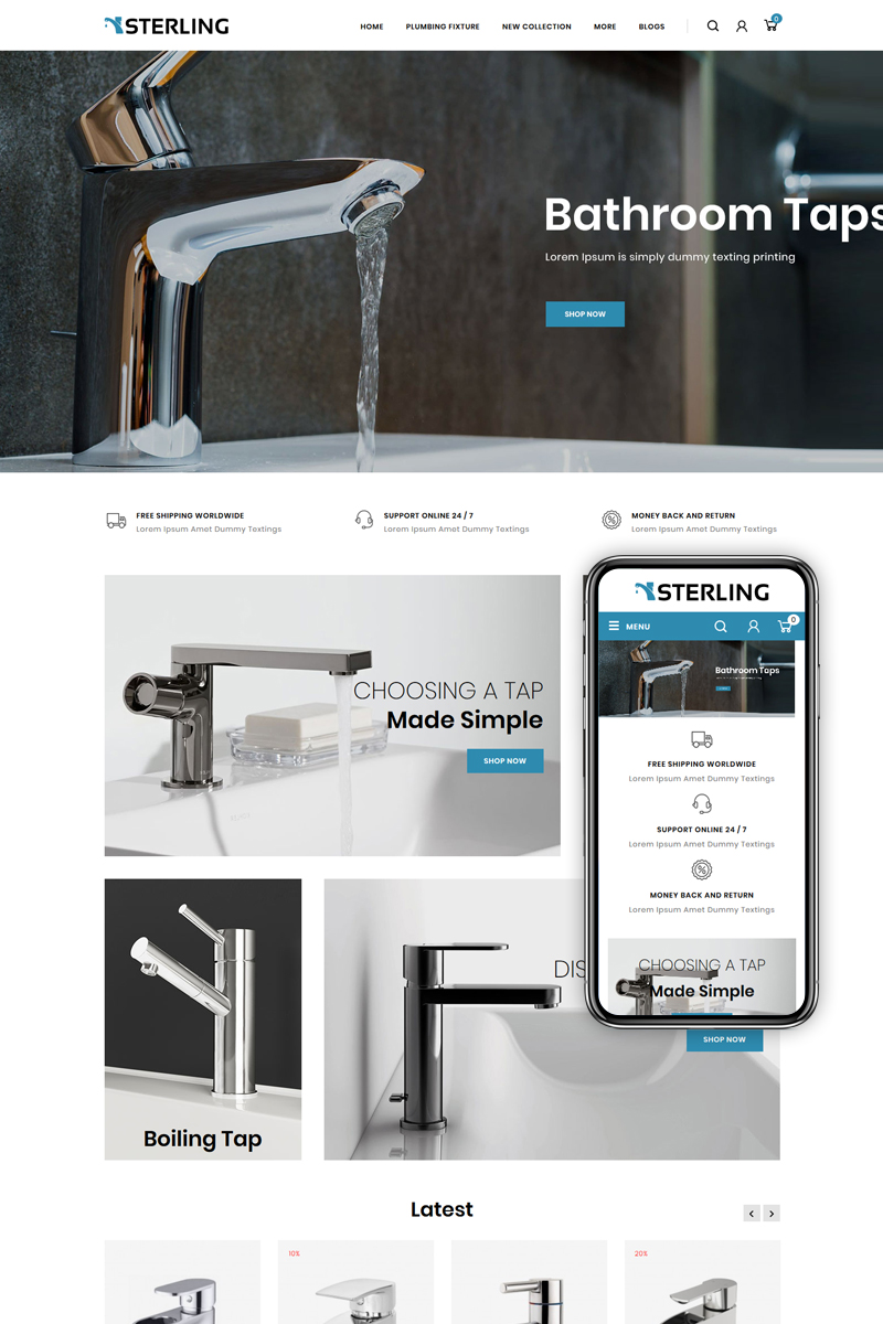 """Sterling - Bathroom Accessories Store"" Responsive OpenCart Template №85396"