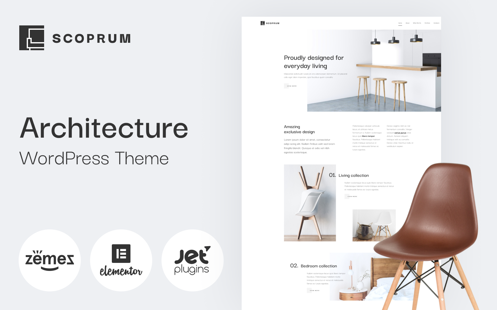 "Tema De WordPress ""Scoprum - Furniture design WordPress theme for classy studios"" #85316"