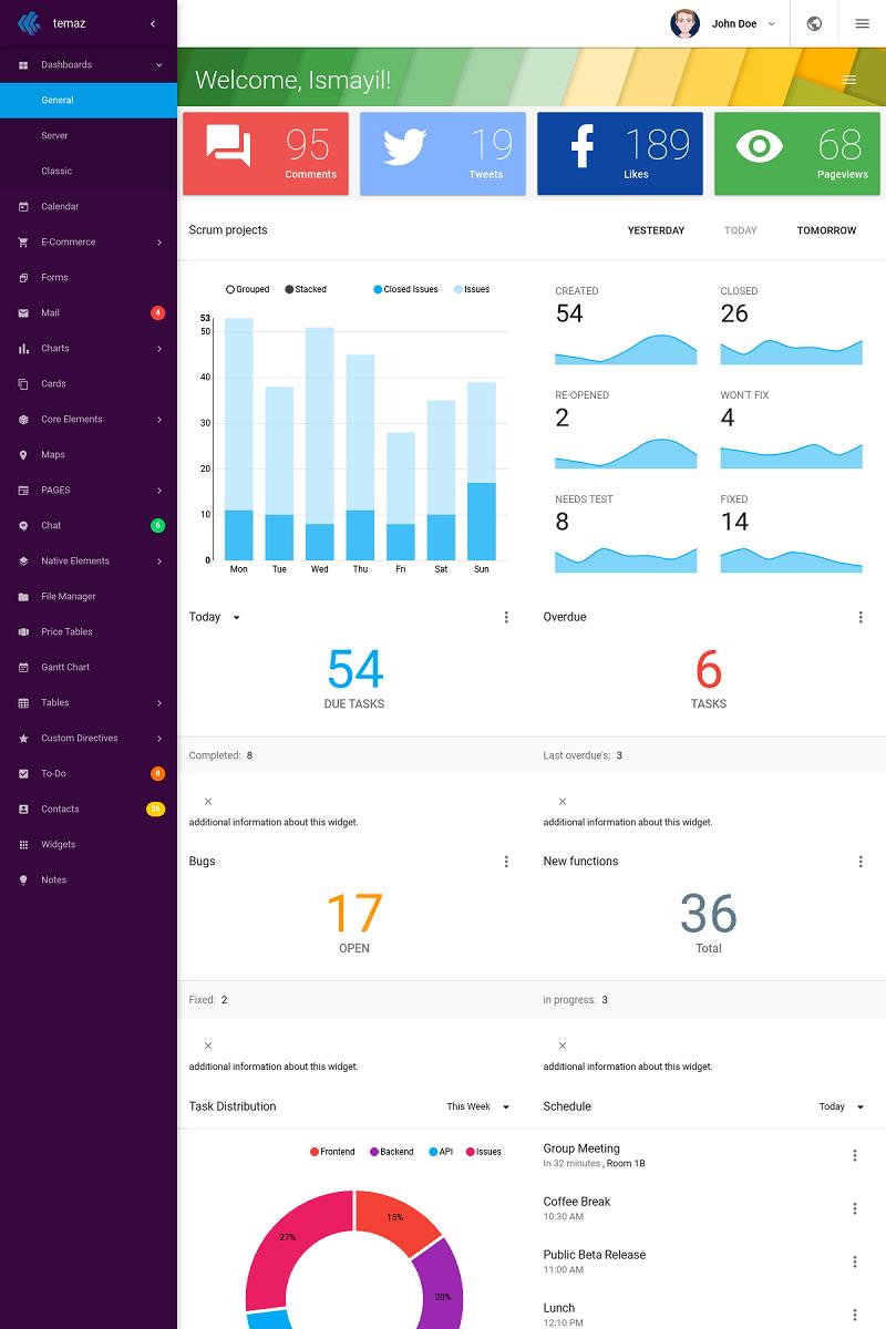 TemAz - Material Design AngularJS Admin Template - screenshot